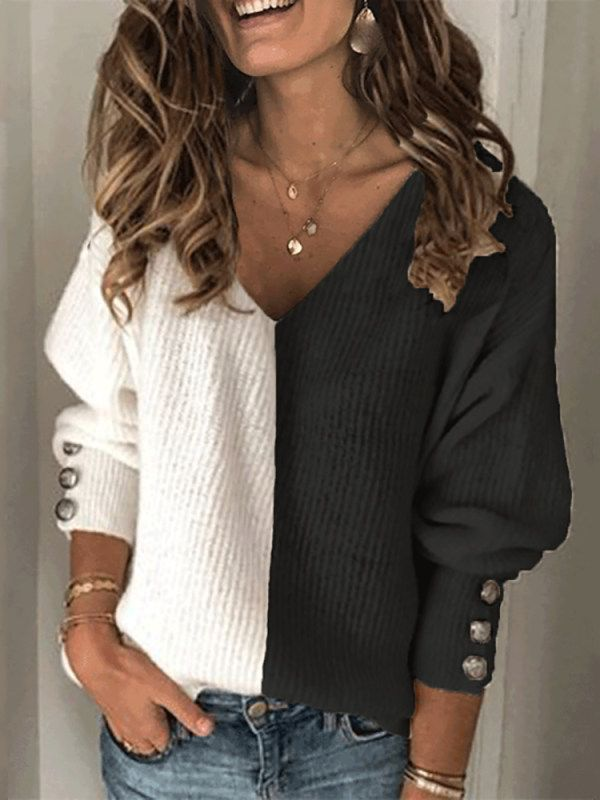 Women's fashion color matching V-neck sweater - re
