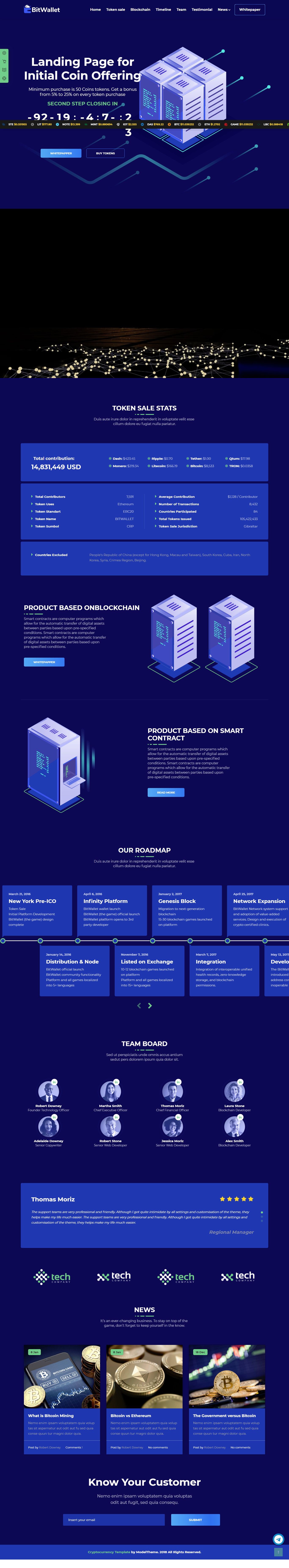 Bitwallet Cryptocurrency Ico Landing Page Html Template
