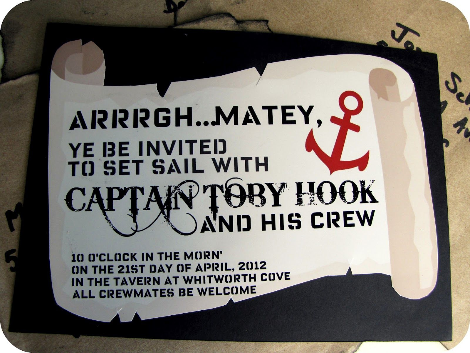 Captain Hook/Pirate Party Invitations... | Party ideas | Pinterest ...