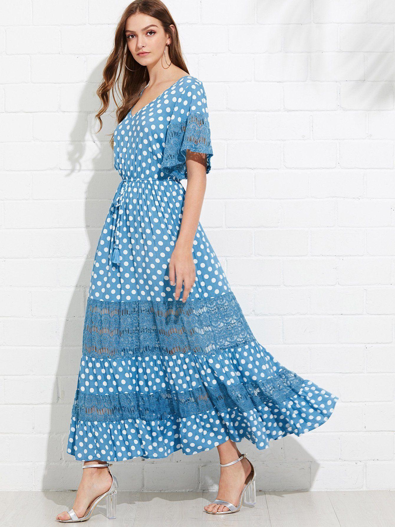 Floral Lace Insert Polka Dot Dress Fashion Clothing