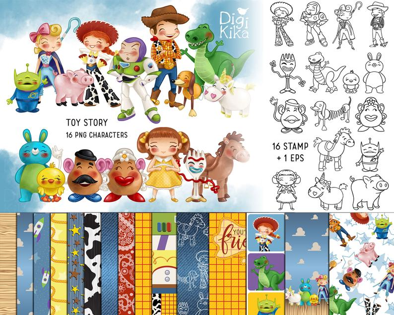 Toy Story Bundle Toys Clipart Seamless Paper Pack Digital