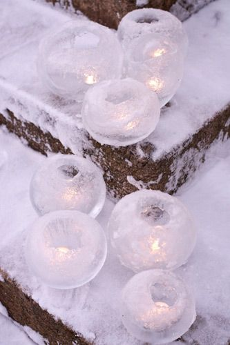 Balloons and water -> ice = winter decorations