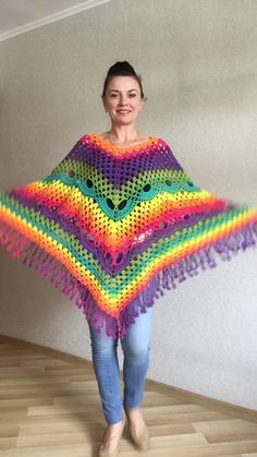 Crochet Poncho Women Plus Size Rainbow Festival Pride Vegan Clothing Fringe, Hippie Poncho bohemian clothing, Hand Knit Boho Wraps