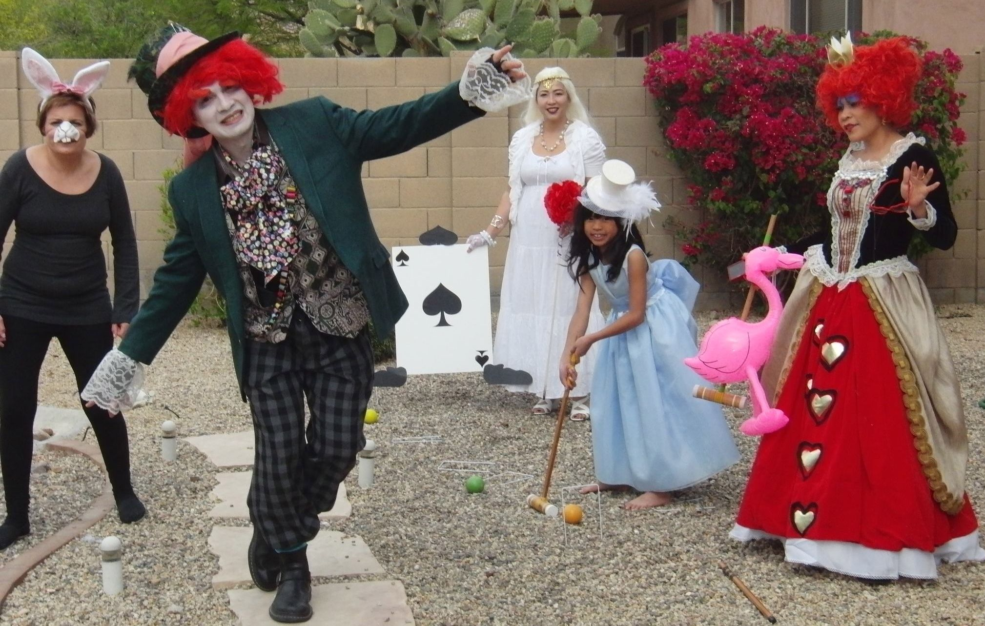 The Rabbit, The Mad Hatter, The White Queen, Alice, and The Red Queen - for my daughter's 8th Birthday Party