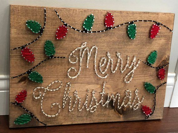 Merry Christmas with Lights String Art #stringart