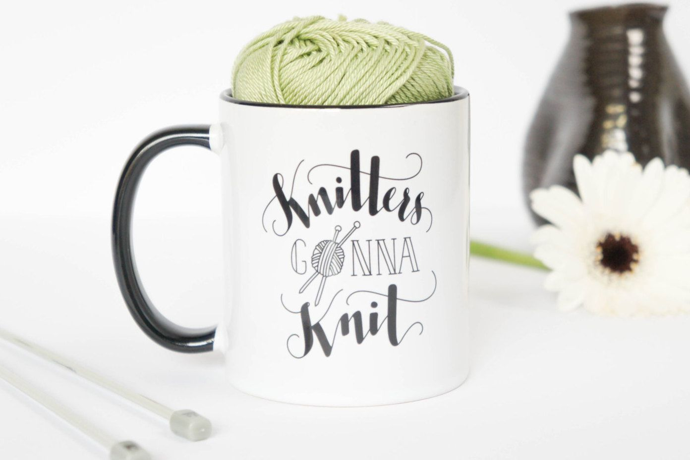 Handlettered knitting mug 'Knitters gonna Knit'. Funny and unique design on an 11 oz ceramic mug. Dishwasher and Microwave safe crafty mug. - pinned by pin4etsy.com