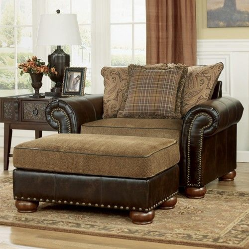 Signature design by ashley furniture briar place antique for Leather and fabric living room sets