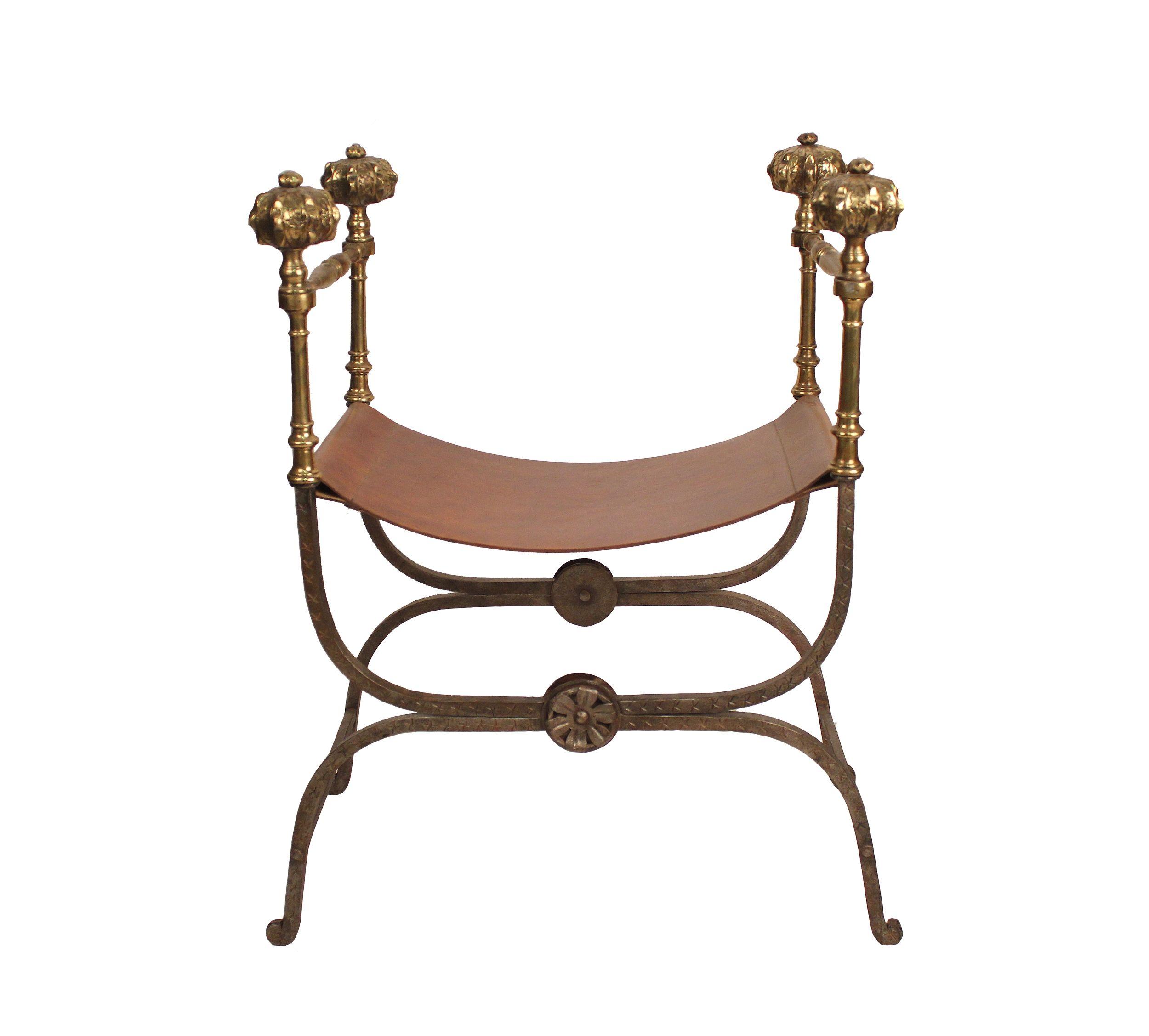 Savonarola Italian Chair, 19th Century   Vintage leather and iron ...