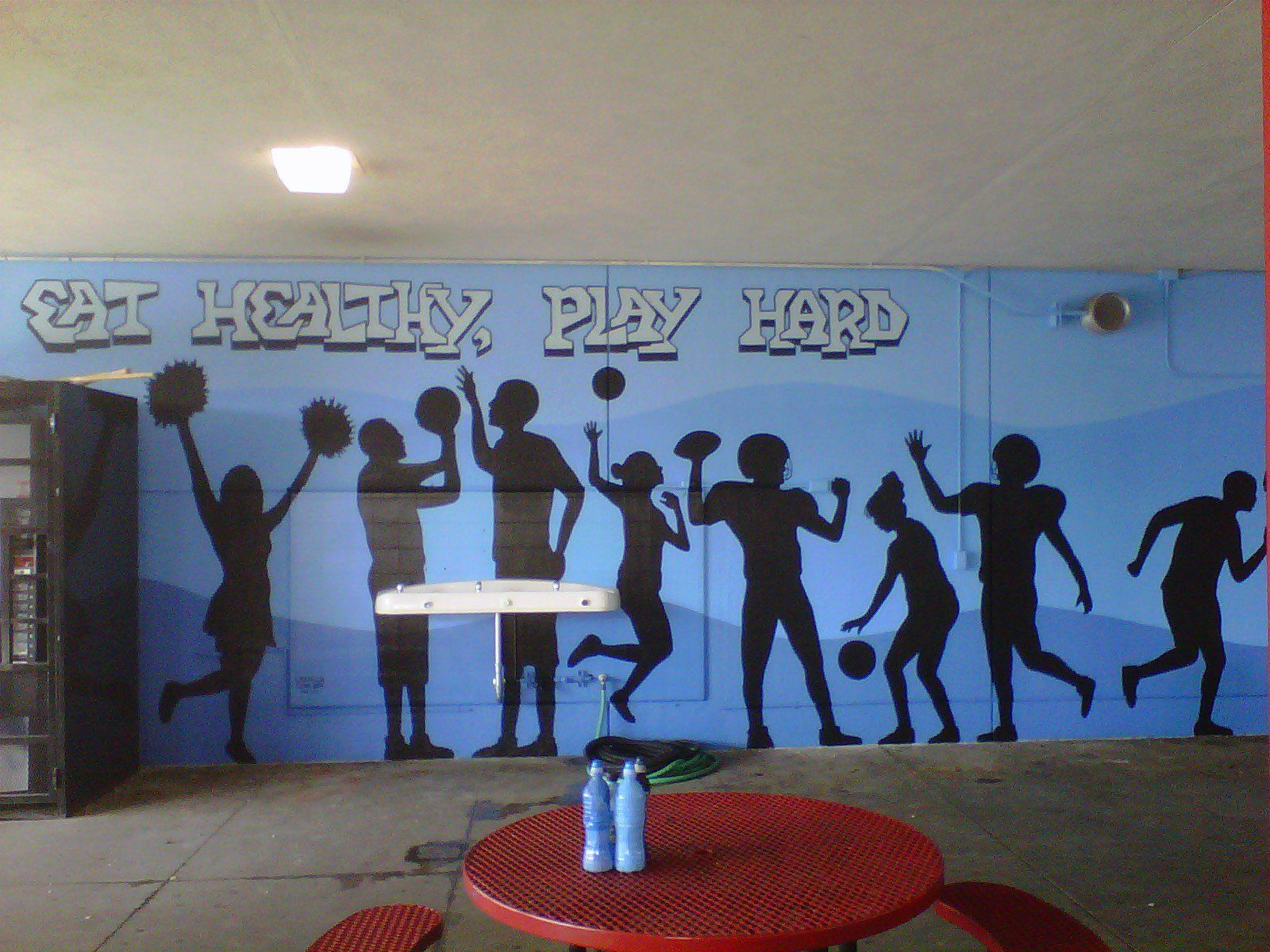 School cafeteria murals play hard a healthy for Best paint to use for outdoor mural