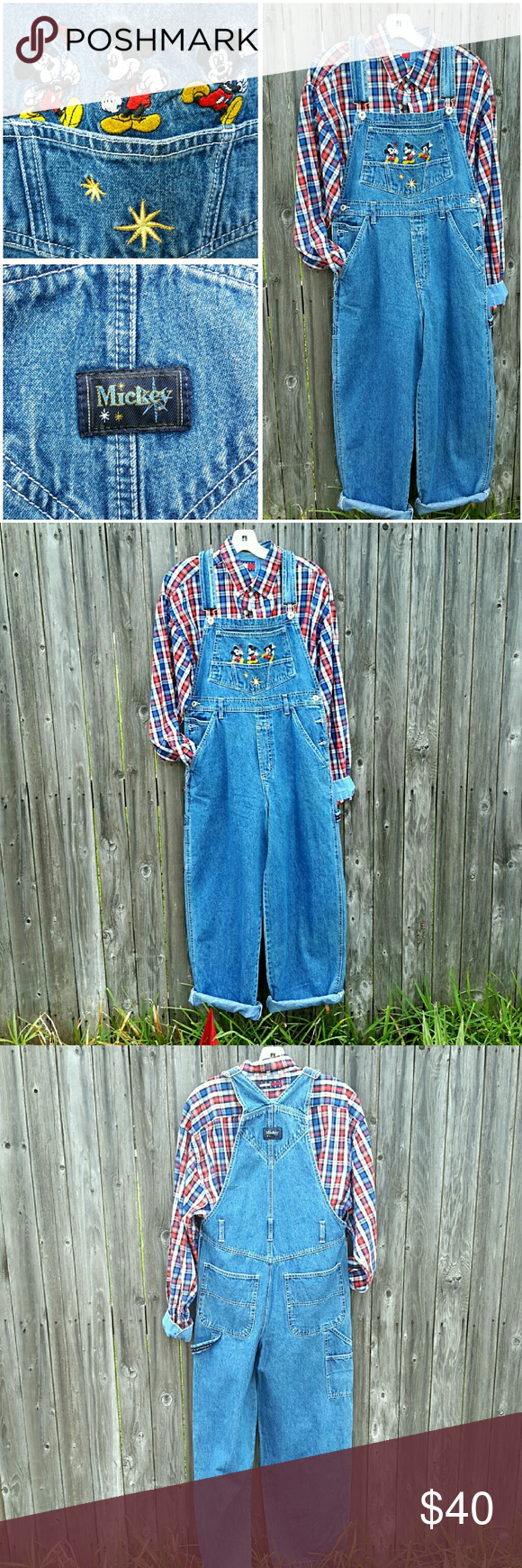 """Vintage MICKEY MOUSE Denim Overalls Disney Mickey Oh My! LOVE these super Cute Mickey Mouse Overalls!  They are prefect for all you Mickey  Lover's.  They are from Disney and ate in good condition with no rips or stains.  They are unlimited.  Lenght : 59"""" Hips:36"""" Size M/L Disney  Jeans Overalls"""