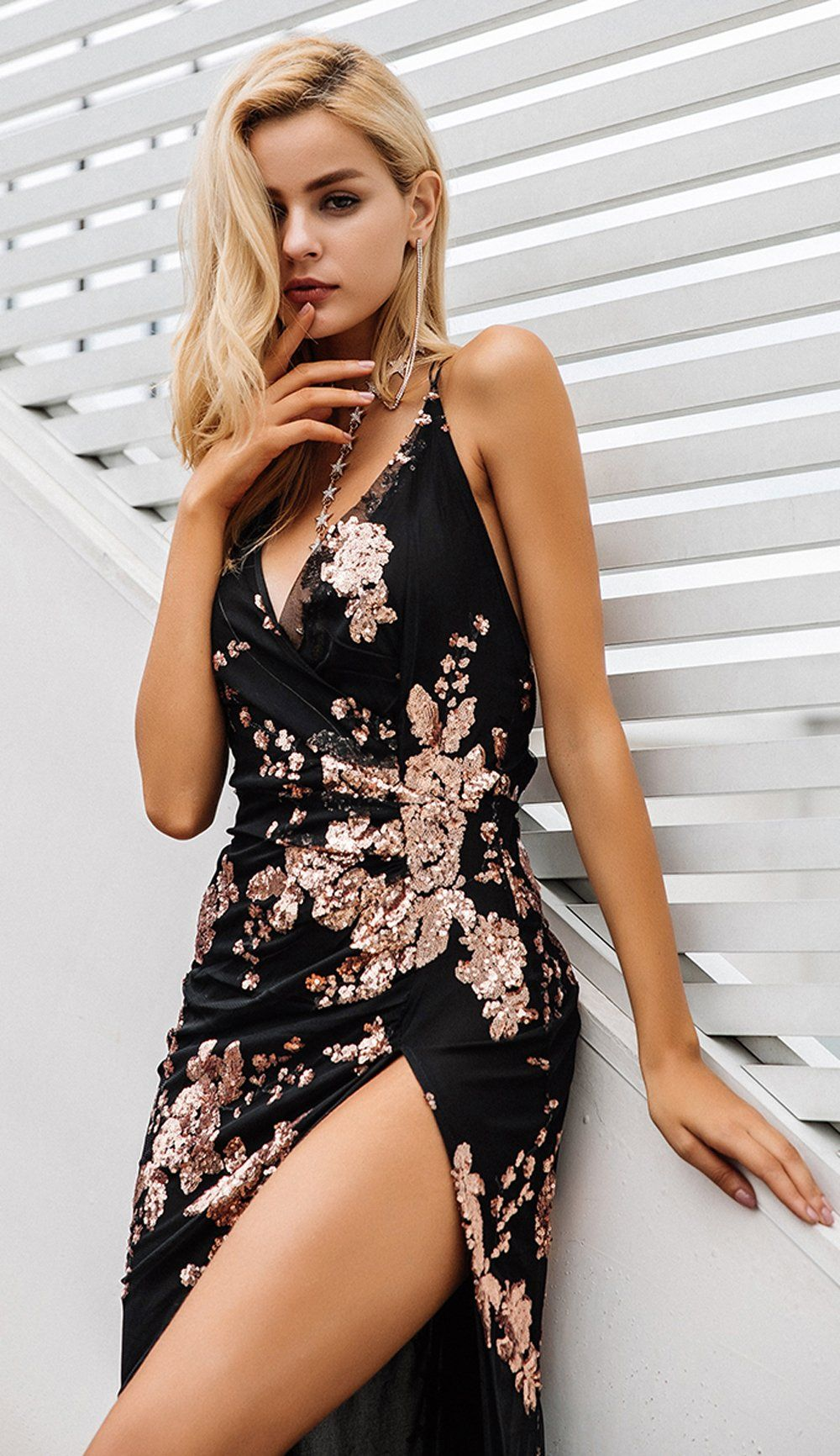 Victoria floral sequin backless strappy slit maxi dress fashion