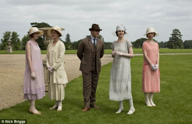 Struggling: The troubled fourth series of Downton Abbey came to a close last night. Above (l-r), Lady Edith, Lady Rosamund Painswick, Tom Branson, Lady Mary and Lady Rose