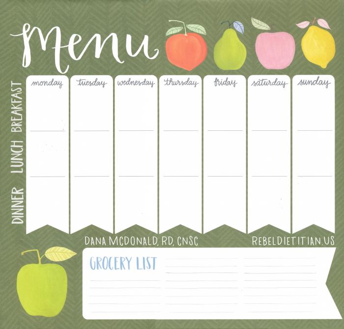 Weekly Meal Plan [Blank] | rebelDIETITIAN.US