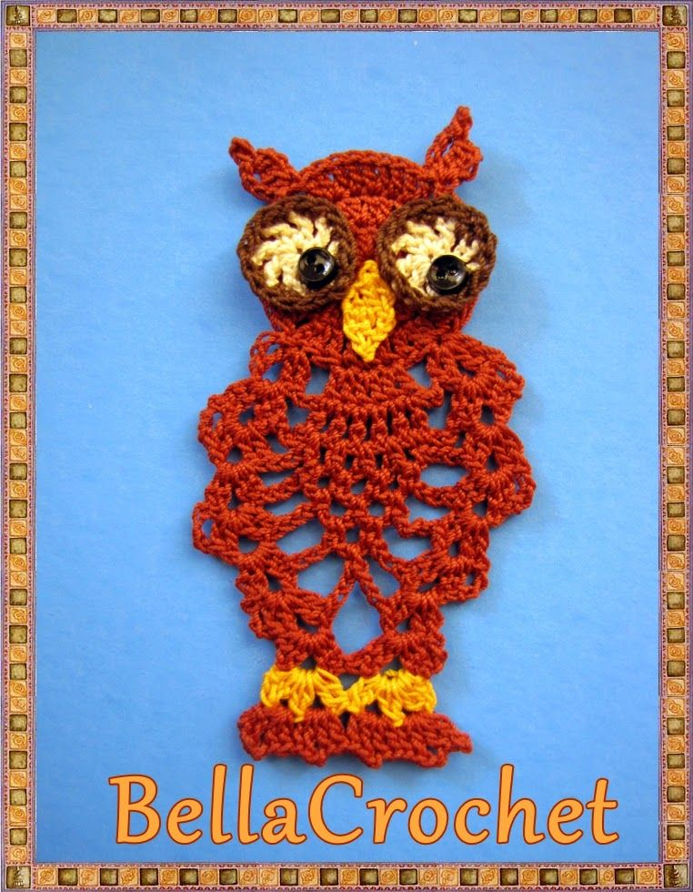 BellaCrochet: Pineapple Owl Ornament or Bookmark: A Free Crochet ...