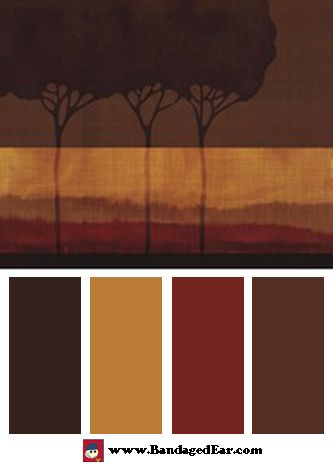 Natural Color Palette Inspired By Autumn Silhouettes I By