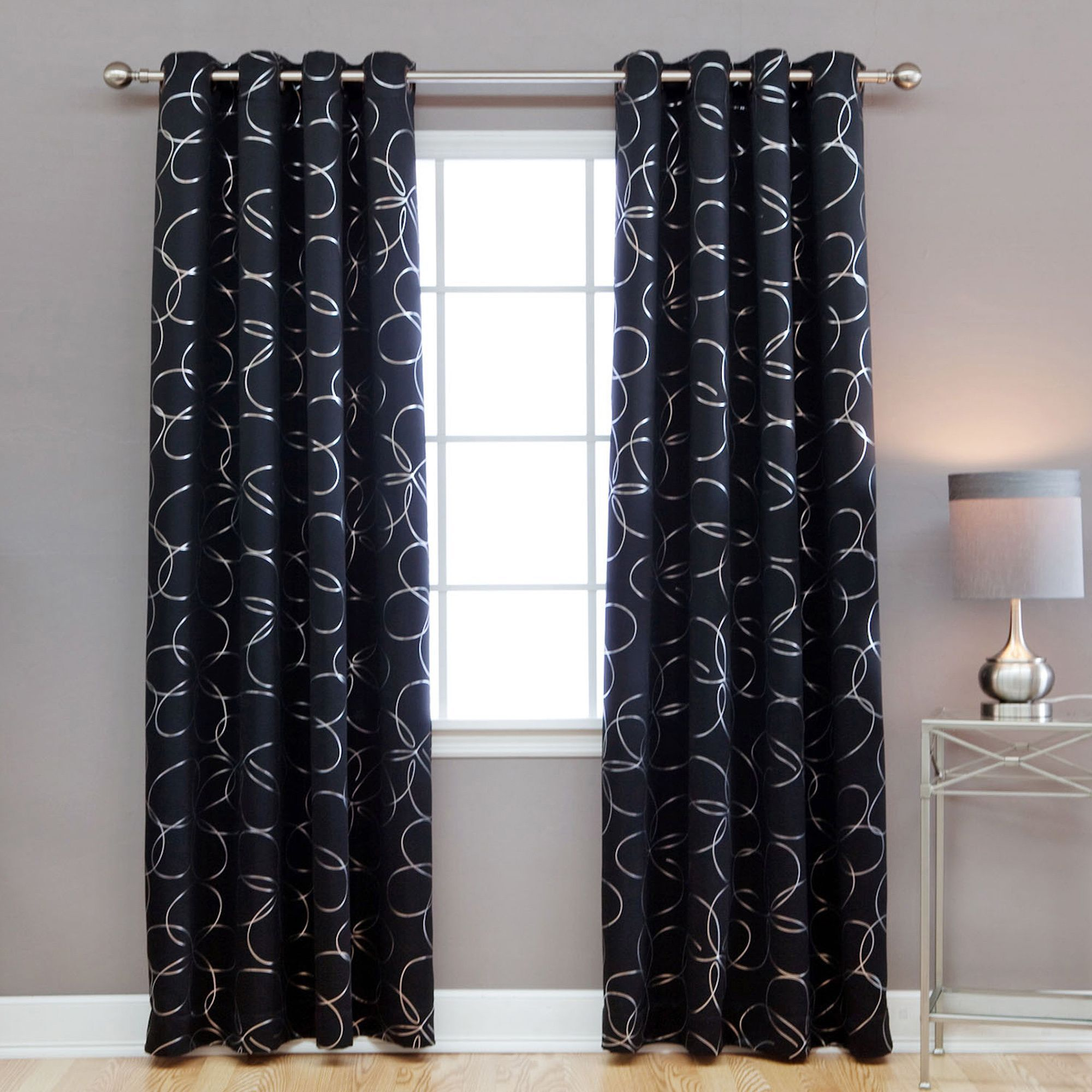 Aurora Home Modern Foil 96 Inch Blackout Grommet Curtain Panel Pair