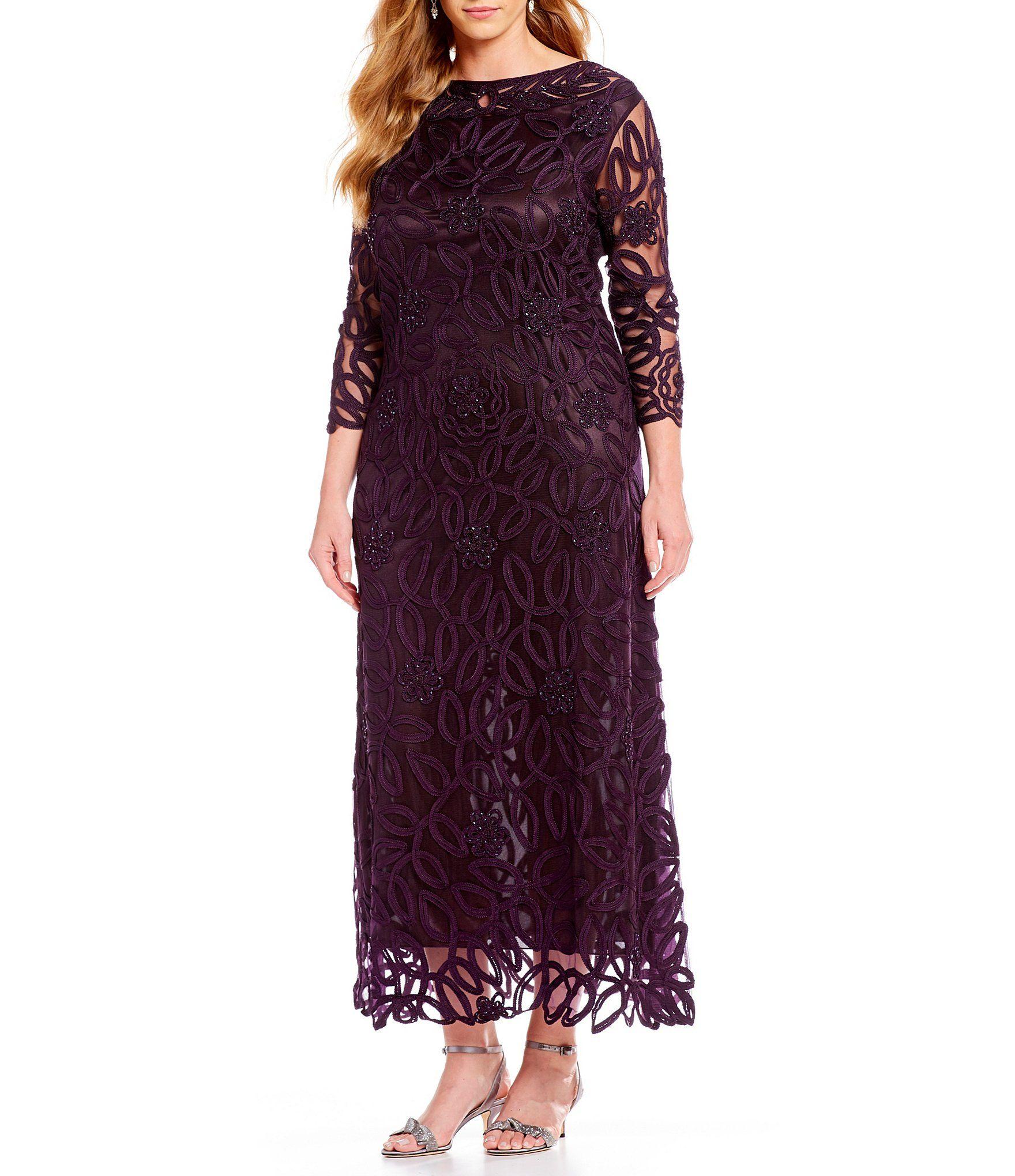 Soulmates Plus Size Soutache 3 4 Sleeve Long Gown Dillards Long Gown Womens Dress Coats Soulmates Dresses [ 2040 x 1760 Pixel ]
