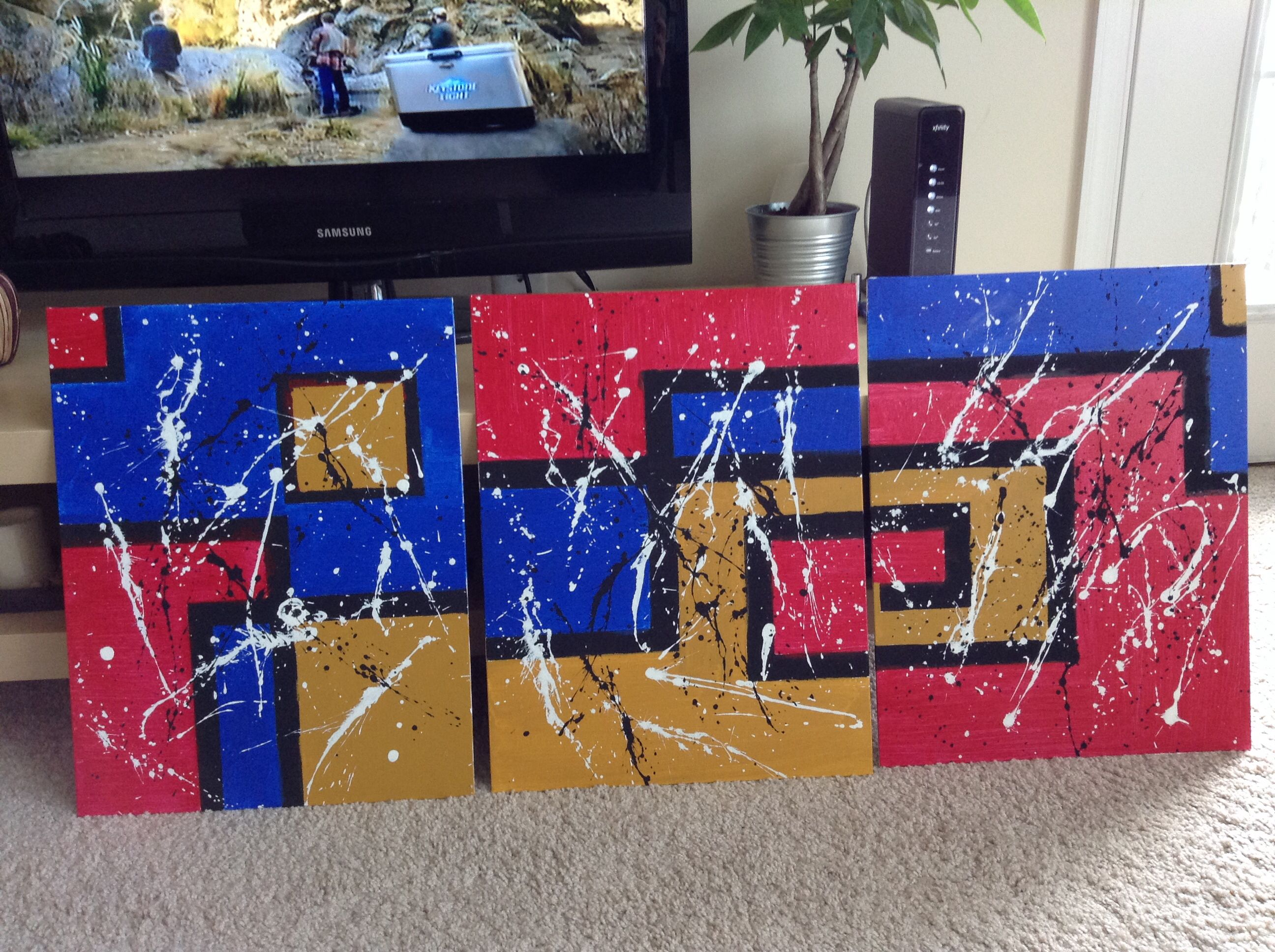 Blue Red Gold Black Lines Painters Tape Squares Paint Spatter Three Canvas Design Canvas Designs Painting Drawing S