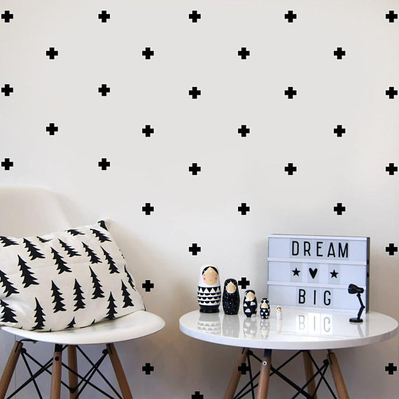 cross wall decal/ black and white nursery stickers/ kids room fabric