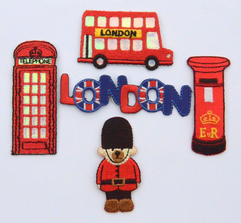 Bus London bus UK Embroidered Iron on Sew on PatchBadge
