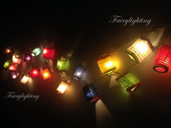 20 Asian Multi Color Chinese Paper Lantern Fairy by fairylighting