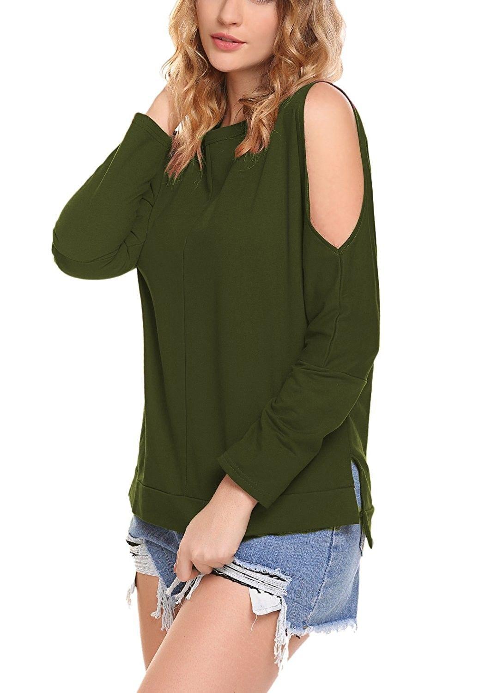 eb4bda1f057 Women s Cold Shoulder Tops High Low T Shirts Side Slits Long Sleeve  Sweatshirt - Army Green - CP1870S5E3E