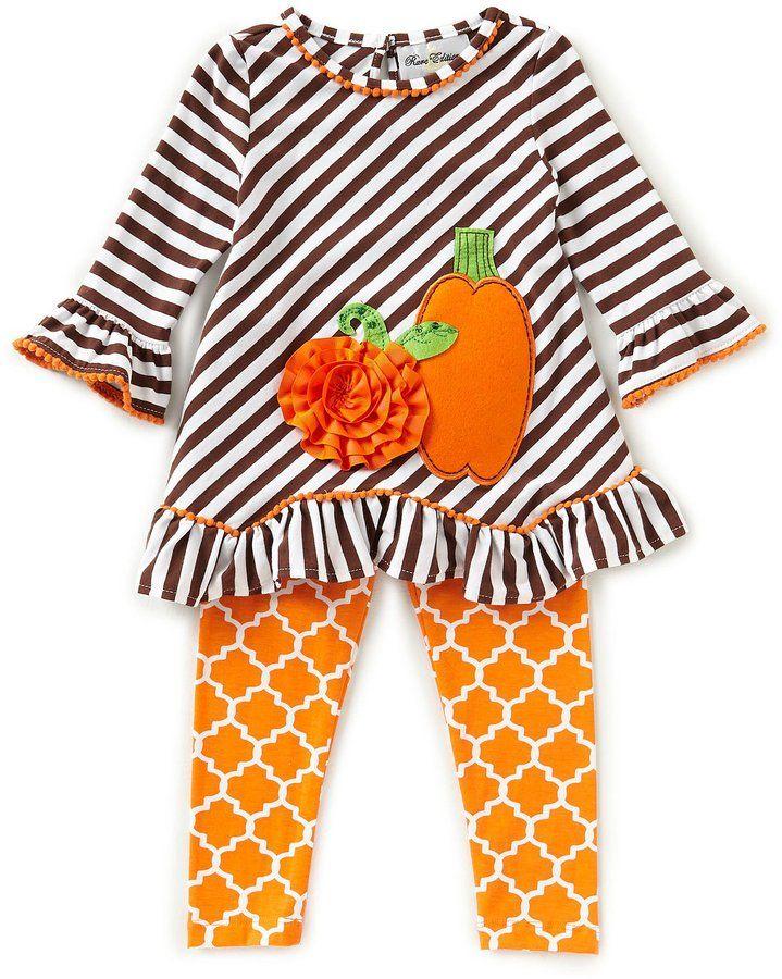 9fc3259e869b Rare Editions Little Girls 2T-6X Thanksgiving Pumpkin Striped Tunic &  Printed Leggings Set