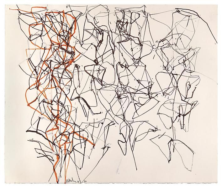 Brice Marden Study for the Virgins, 1990 Ink, colored ink and gouache on paper 20 1/4 x 24 inches