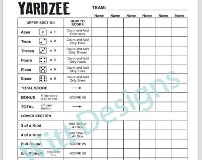 Yahtzee Score Sheets Template yahtzee score