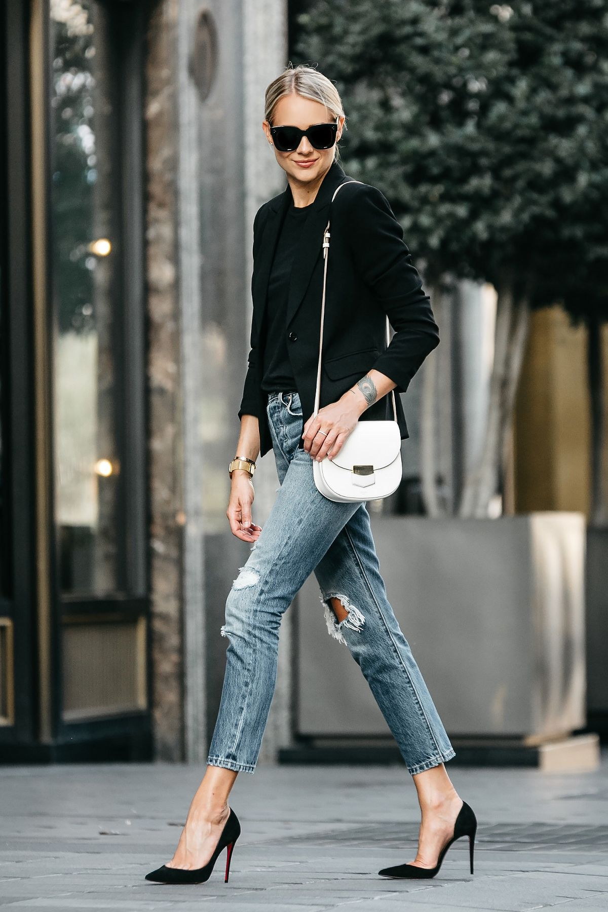 946f89150ce Blonde Woman Wearing Black Blazer Black Tshirt Denim Ripped Jeans Outfit  Christian Louboutin Black Pumps Celine Trotteur White Handbag Fashion  Jackson ...