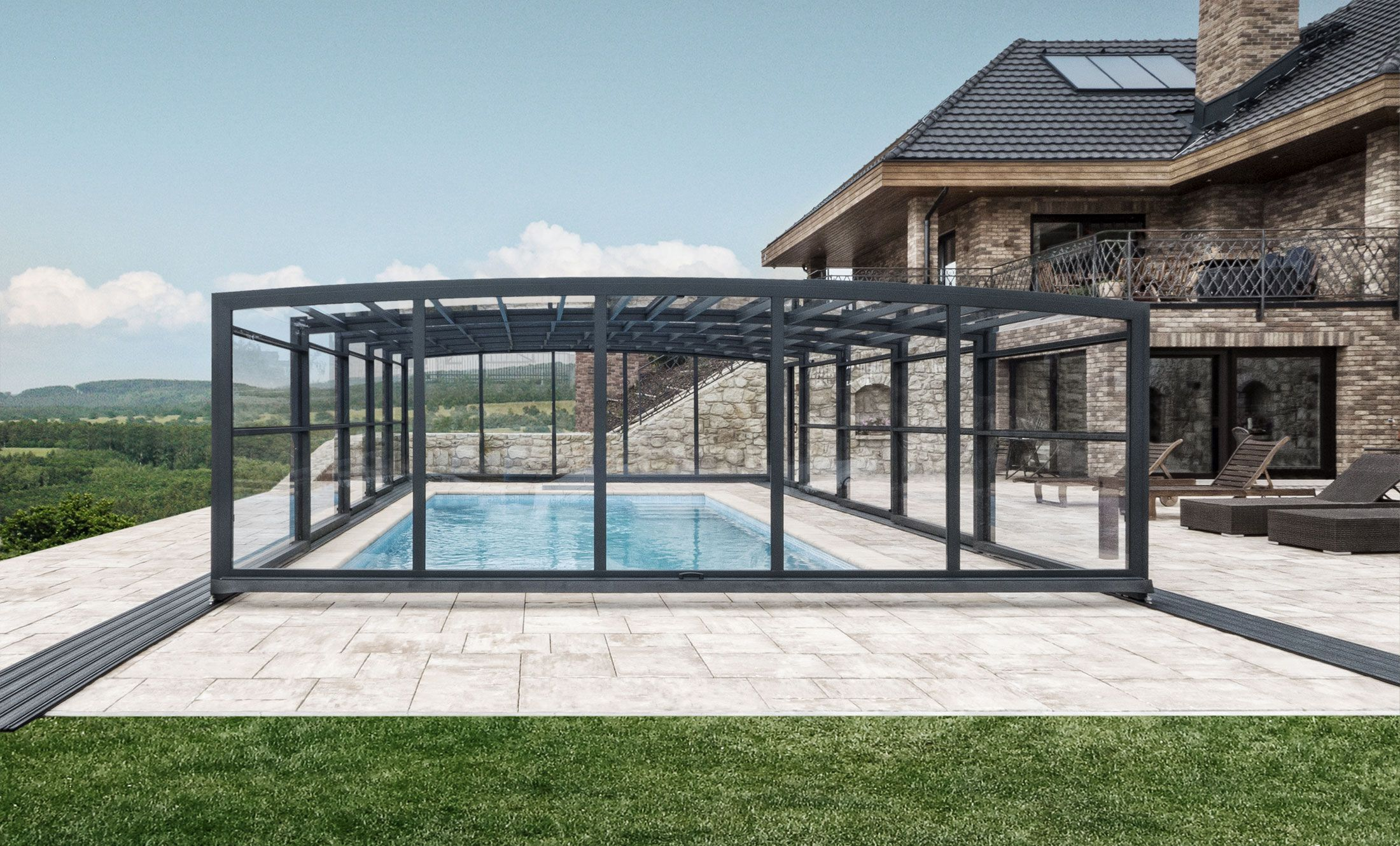 Pool Enclosure POPP PRESTIGE P3 robust solid construction though