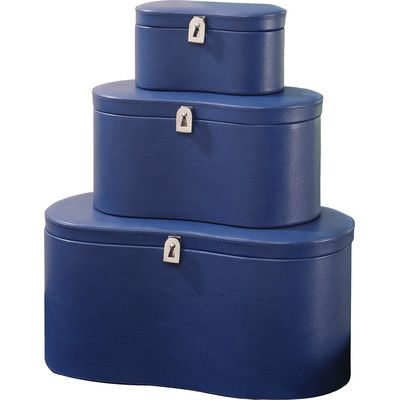 House of Hampton Perivale Leather Box Color: Ink Blue, Size: Medium