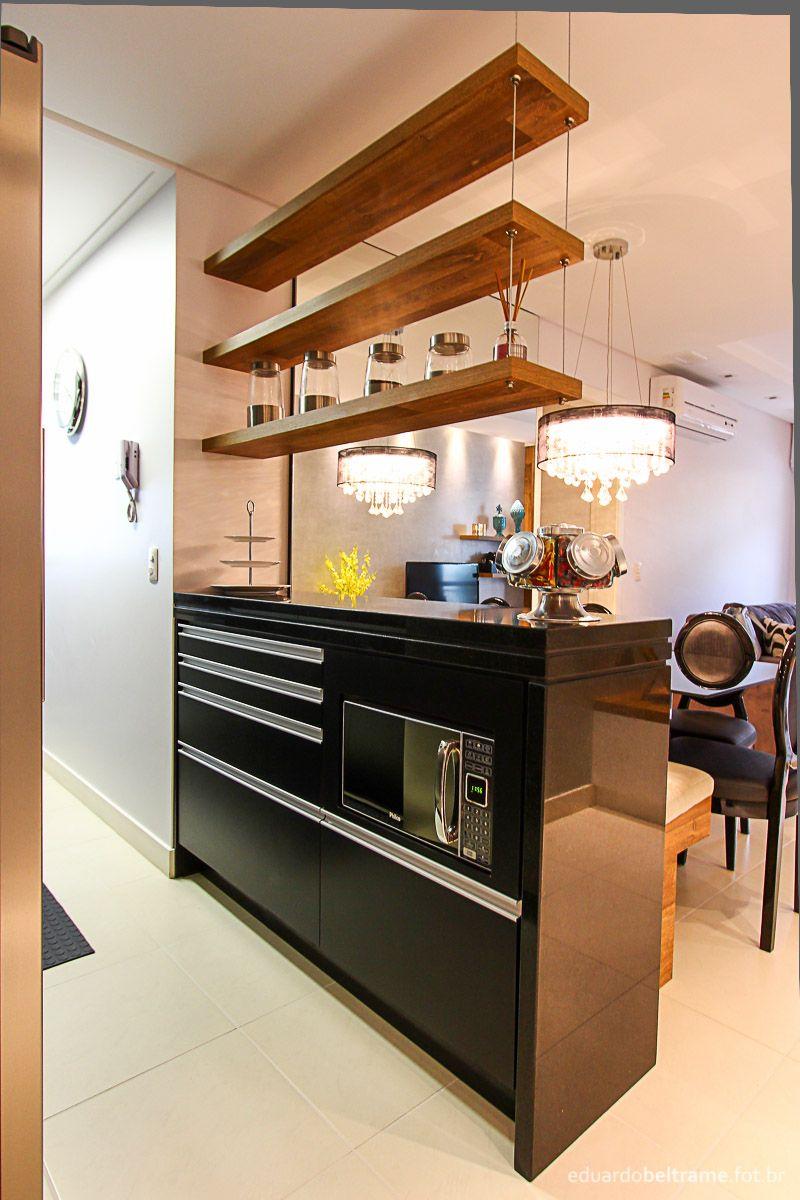 Cozinha Sala Bancada Entre Cozinha E Sala Em Mdf E Pedra Preta
