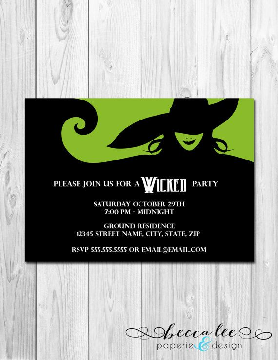 Wicked Party Invitation DIY Printable by BeccaLeePaperie on Etsy - sweet 16 halloween party ideas