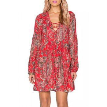 Chic V-Neck Long Sleeve Floral Print Pleated Women's Dress (RED,L) in Print Dresses | DressLily.com