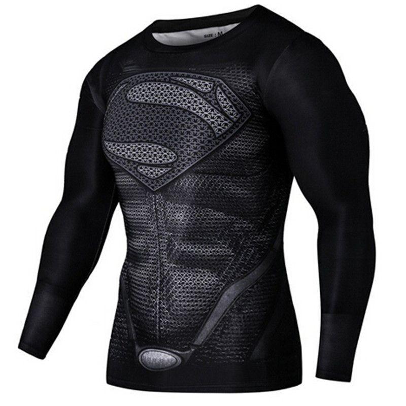 e107013c4 Mens Gym Clothing Sport Fitness tshirt 3D Superman Captain America Long  Sleeve T Shirt Men Crossfit Compression Shirt