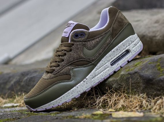 sneakers for cheap 1e681 e419c Nike WMNS Air Max 1- Dark Loden, Medium Olive, and Sail