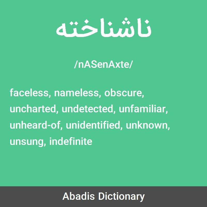 معنی واژه ناشناخته به انگلیسی Faceless Nameless Obscure Uncharted Undetected Unfamiliar Unheard Of Unidentified Unknown Unsung Ind Uncharted Obscure