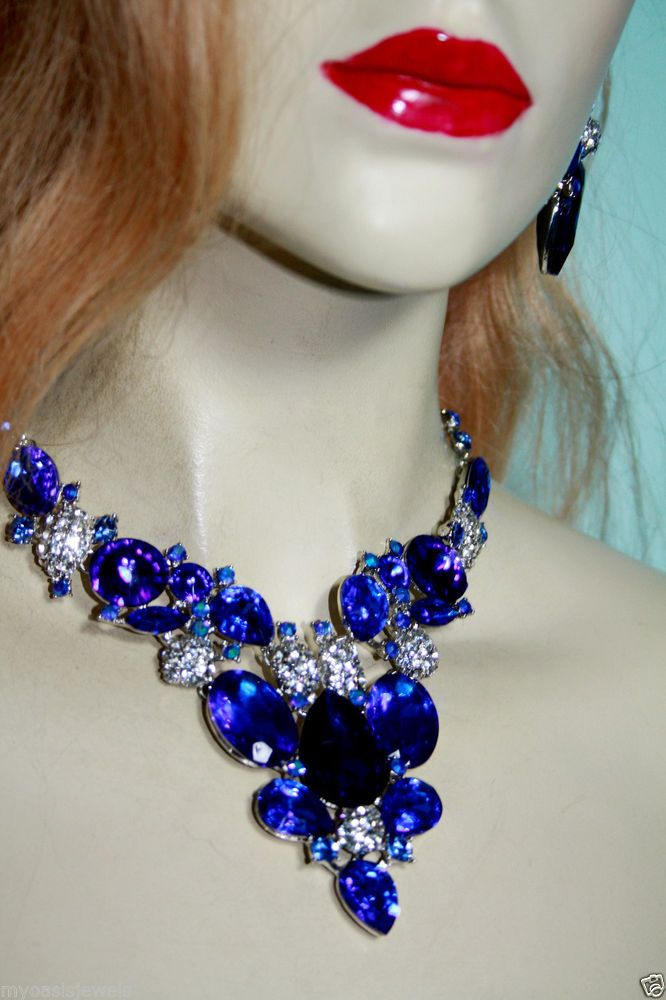 Blue V-Shape Rhinestone Austrian Crystal Choker Necklace Earring Pageant Prom