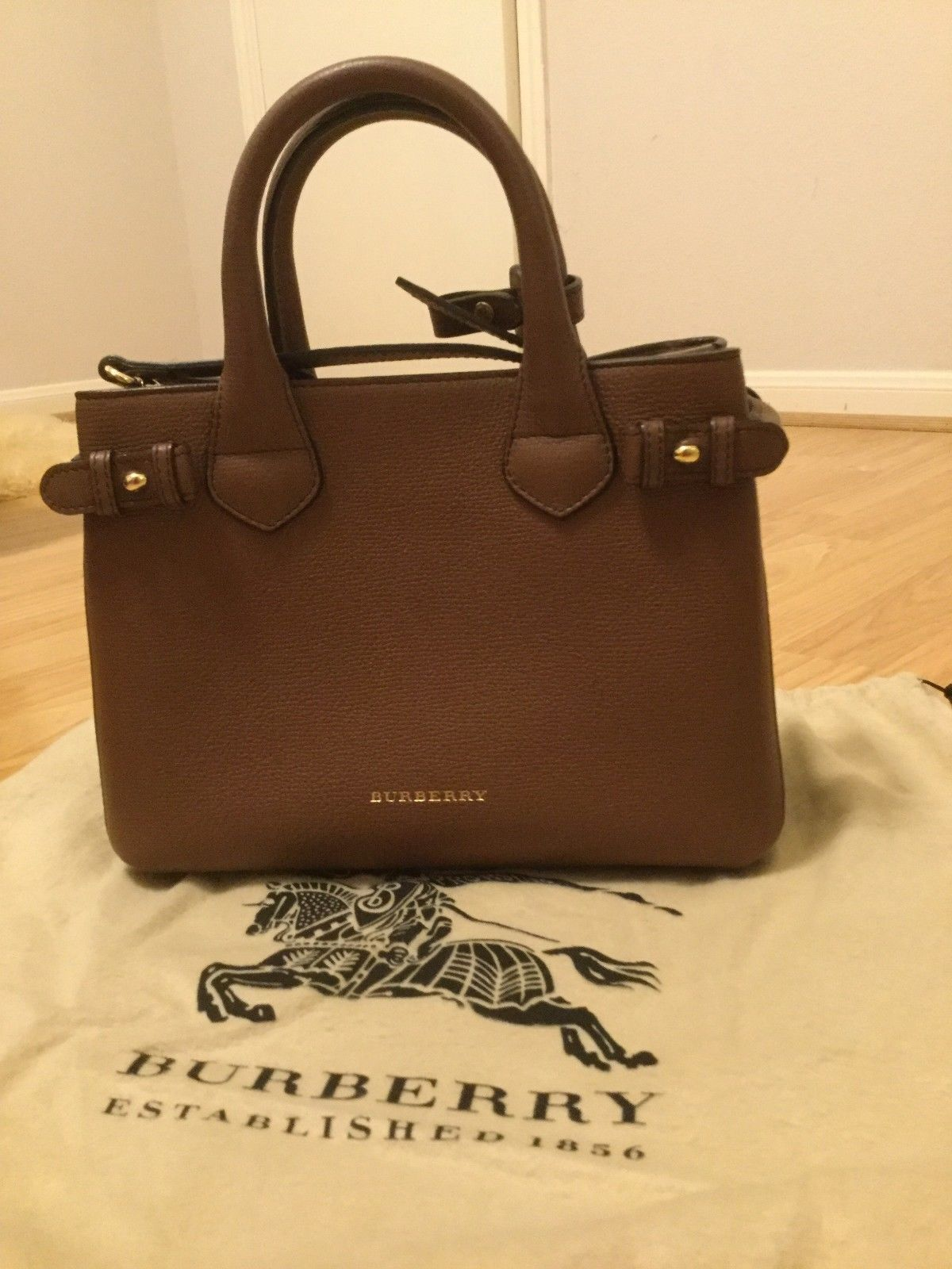 f629a24fdf Burberry Small Banner in Leather and House Check Tan MSRP  1290 ...