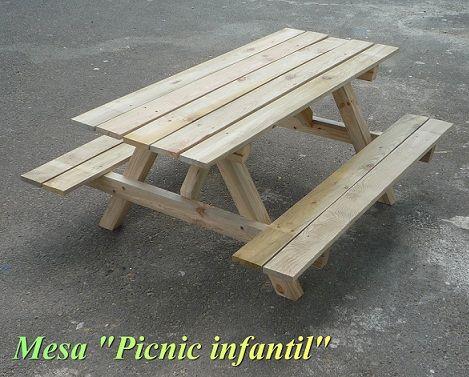 VENTA MESA PICNIC INFANTIL DE MADERA CON BANCOS L 120cms Muebles - como hacer bancas de madera para jardin