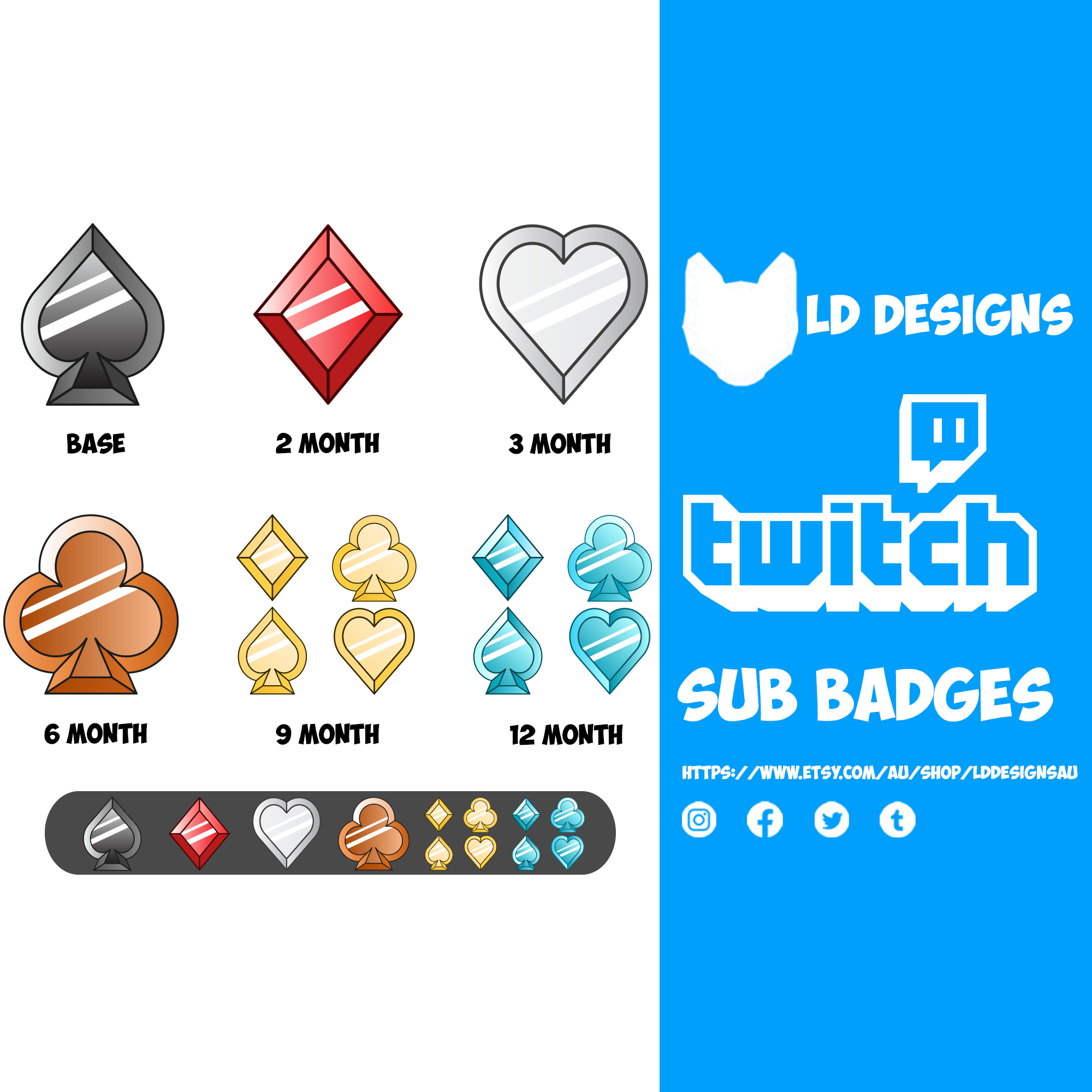 Twitch Sub Badges Card Suits Twitch Badge Submarine