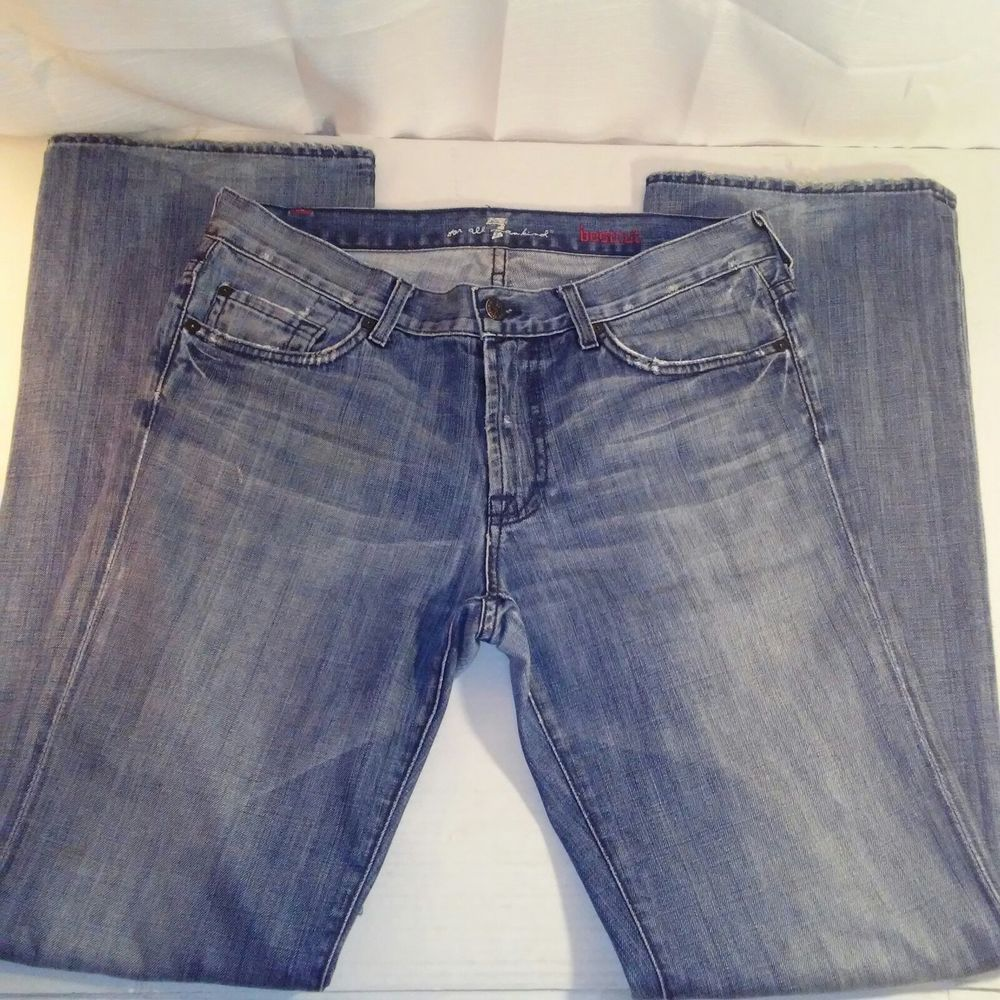 7 For All Mankind Anthropology Womens Bootcut Blue Jeans Size 31