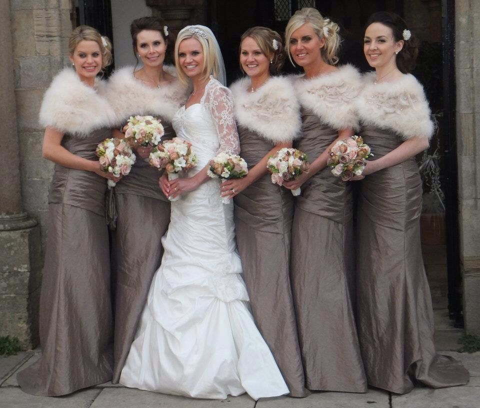 ba738d55b29b Winter bridesmaid dresses with faux fur shrugs. | Chasing the Day ...