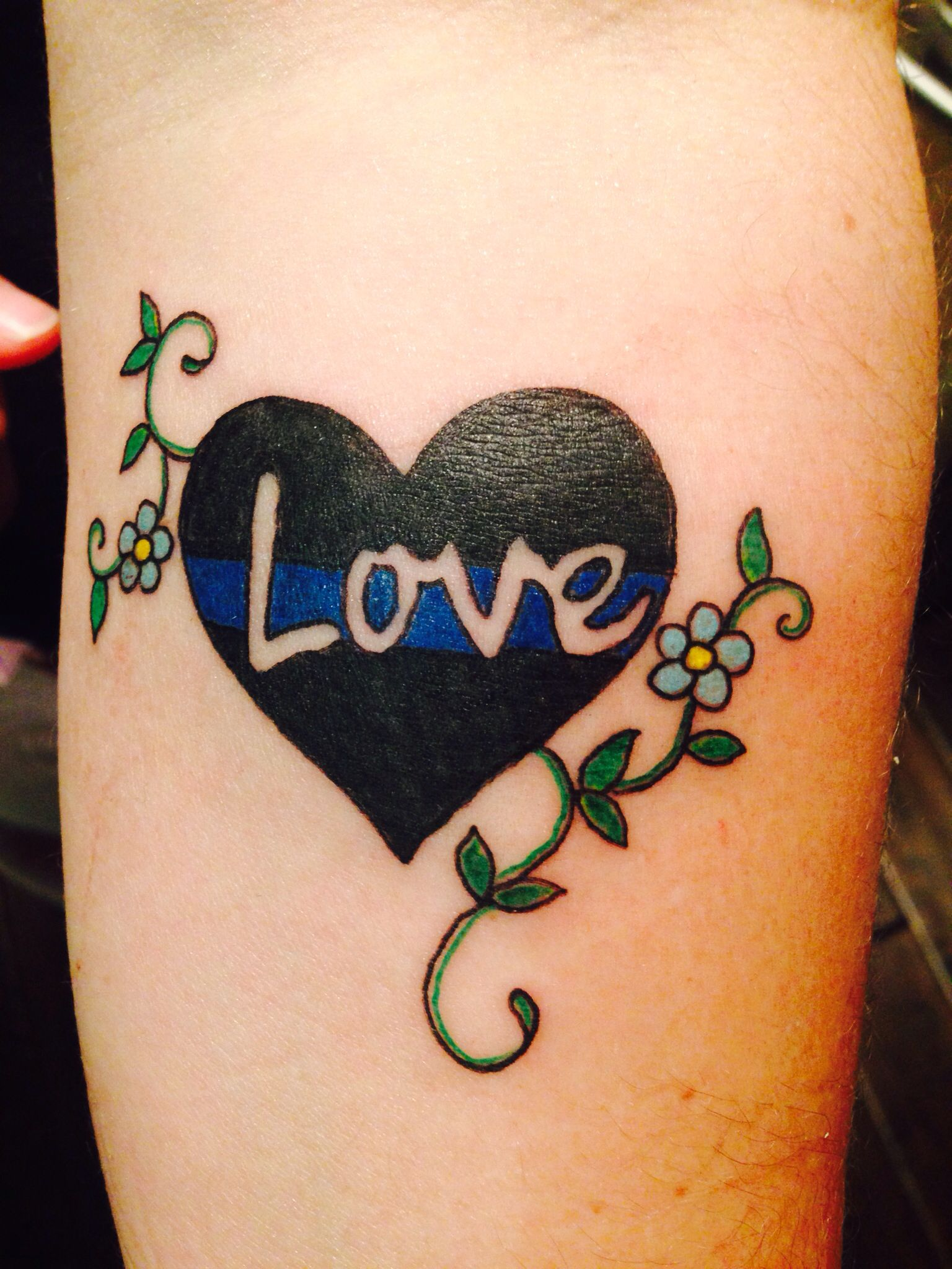 my new tattoo in honor love for my husband the thin blue line in a heart the thin blue line is. Black Bedroom Furniture Sets. Home Design Ideas
