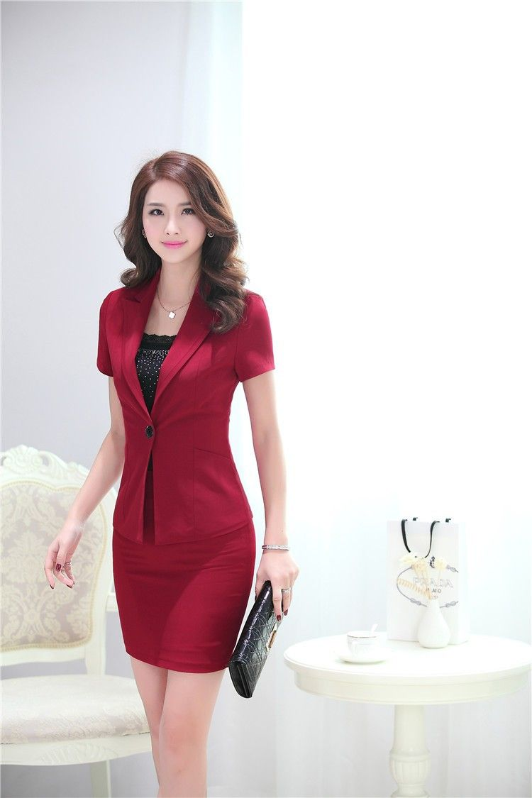 0e7793810d94 Summer Formal Red Blazer Women Suits with Skirt and Jacket Sets Elegant Ladies  Business Suits Office Uniform Style Work Wear   Shop luxury perfumes