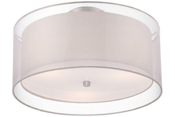 Possini Euro Nickel Double Drum White Ceiling Light