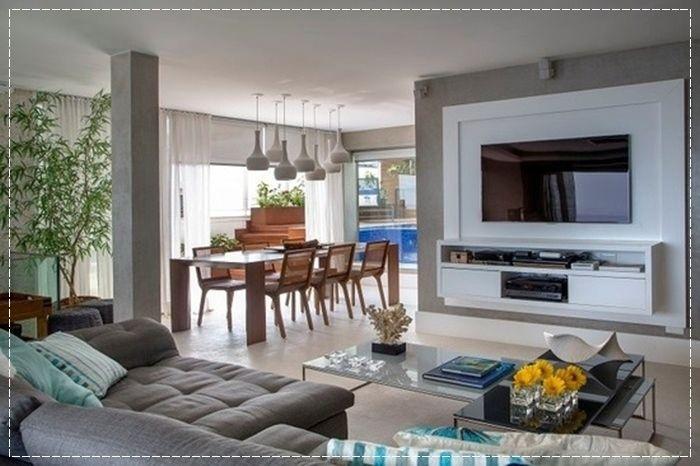 Sala De Estar Com Uma Parede Azul ~ Home Theater, sala de estar, cinema em casa, almofadas, parede cinza
