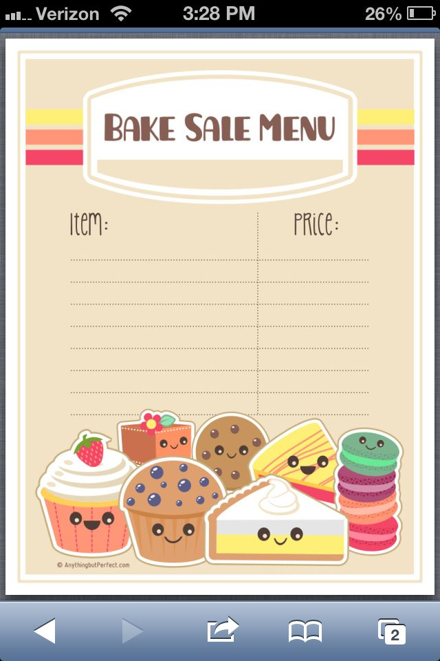 Bake sale menu idea Printables Pinterest Bake sale, Menu and - bake sale flyer
