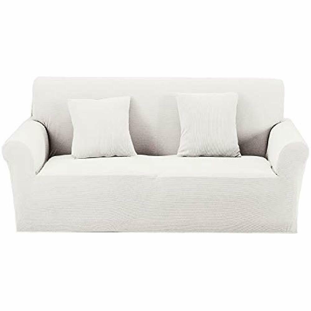 Premium Knit Large Cover Slipcover For Sofa Couch 3 4 Seater Elastic Cream White Sofa Slipcover Ideas Of S White Slipcover Sofa Slipcovered Sofa Slipcovers